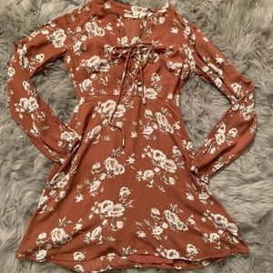 Chloe & Katie Women's Rust Floral Print Dress